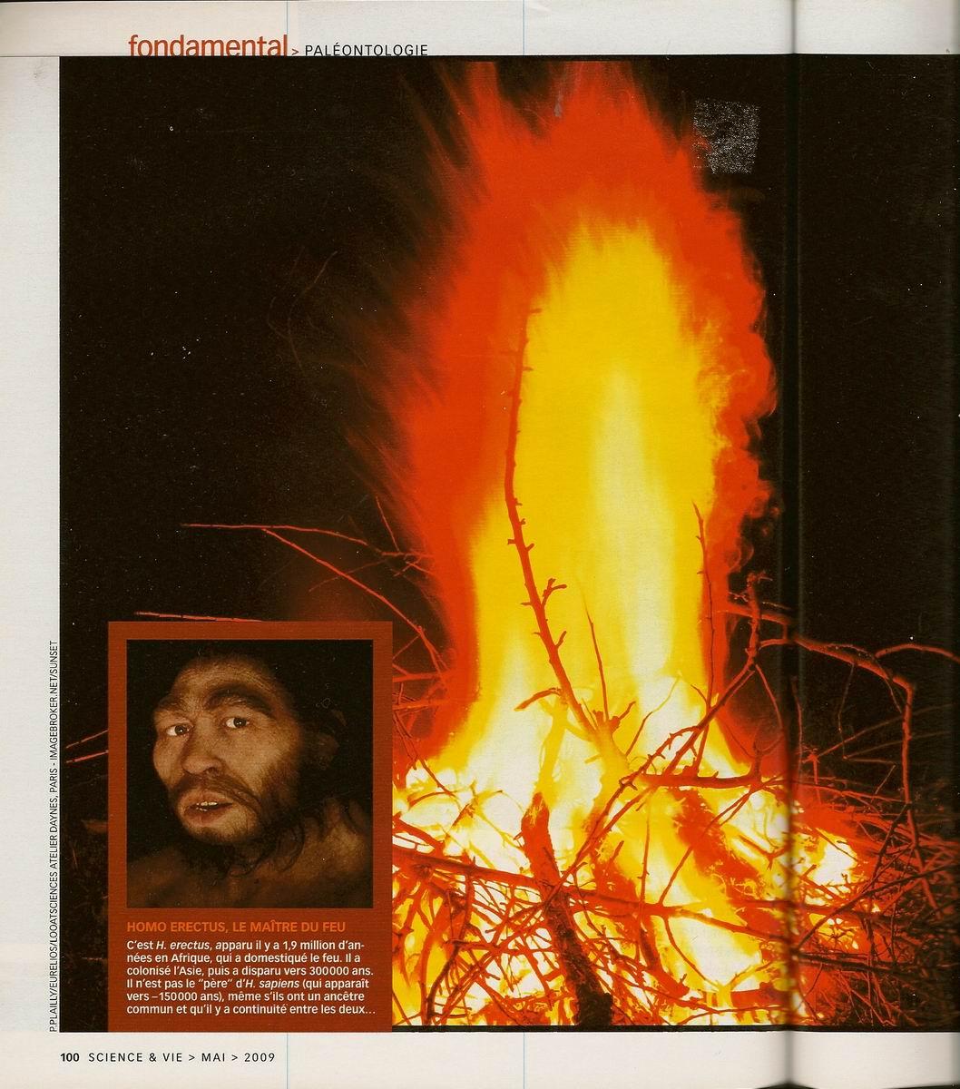 La domestication du feu il y a 800000 ans, science &; vie 1100, 2009-05